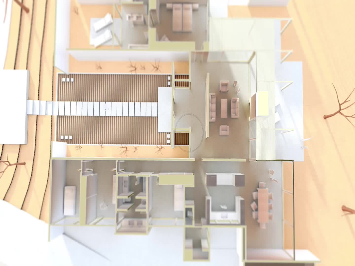 Cardboard Case Study House 23 A GIF by Archilogic on narrow lot floor plans, narrow lakefront house plans, narrow houses floor plans, narrow lot cottage house plans,