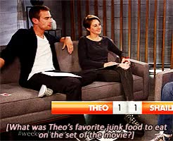 Watch |What was Theo's favorite junk food to eat on the set of the GIF on Gfycat. Discover more abnegation, alliegant, books, dauntless, divergent, factions, fandom, fangirl, four eaton, fourtris, insurgent, otp, shailene and theo, shailene woodley, sheo, theo james, tris prior GIFs on Gfycat