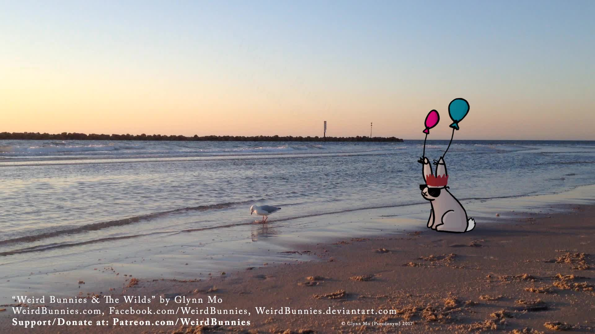 Balloon, Beach, Bird, Birds, Bunnies, Bunny, Cute, Gull, Pretty, Sand, Sea, Seagull, Shore, Sunset, Taps, Tippy, Tippytaps, Water, Weird, WeirdBunnies, Balloon Bunny watches Seagull Tippy Taps GIFs