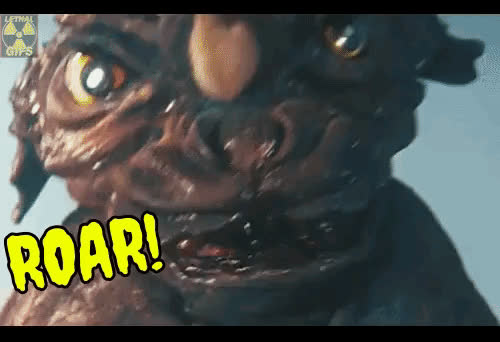 Baragon, Girl, Godzilla, Japan, Lethal GIFs, Mick Lethal, Monster Movie, Sci Fi, Science Fiction, funny, kaiju, monster, scream, BARAGON GETS THE GIRL! GIFs