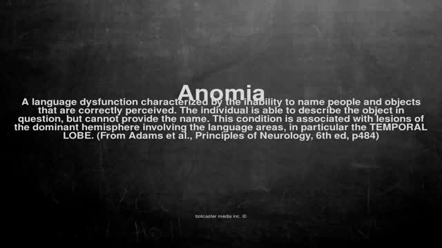 Medical vocabulary: What does Anomia mean
