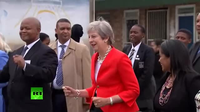 Watch Theresa May caught dancing awkwardly in South Africa GIF on Gfycat. Discover more Britain, news, politics, theresa may GIFs on Gfycat