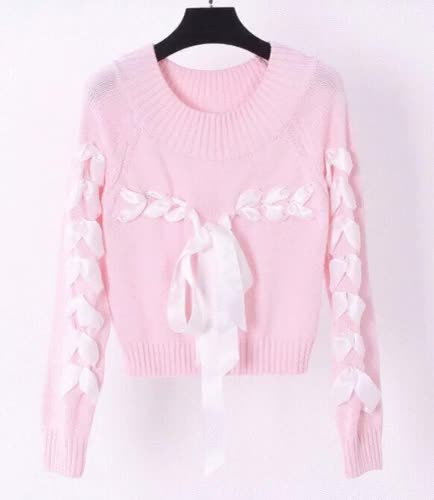 Sweet Jewel Collar Long Sleeve Sweater