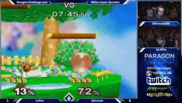 Armadaslipsuphere,trying to catch Leffen out with a JC grab and whiffing. Leffen catcheshim