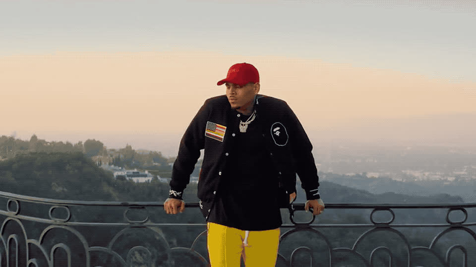 balcony, brown, chris, chris brown, confused, confusion, dicky, freaky, friday, hat, hmm, lil, omg, view, wait, waiting, worried, worry, Lil Dicky - Freaky Friday feat Chris Brown GIFs