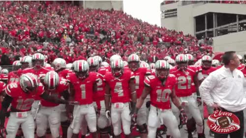 Watch and share Q1/Q2 BREAK After Honoring The 2002 Team, Jim Tressel Is Hoisted To The Shoulders Of His Players. animated stickers on Gfycat