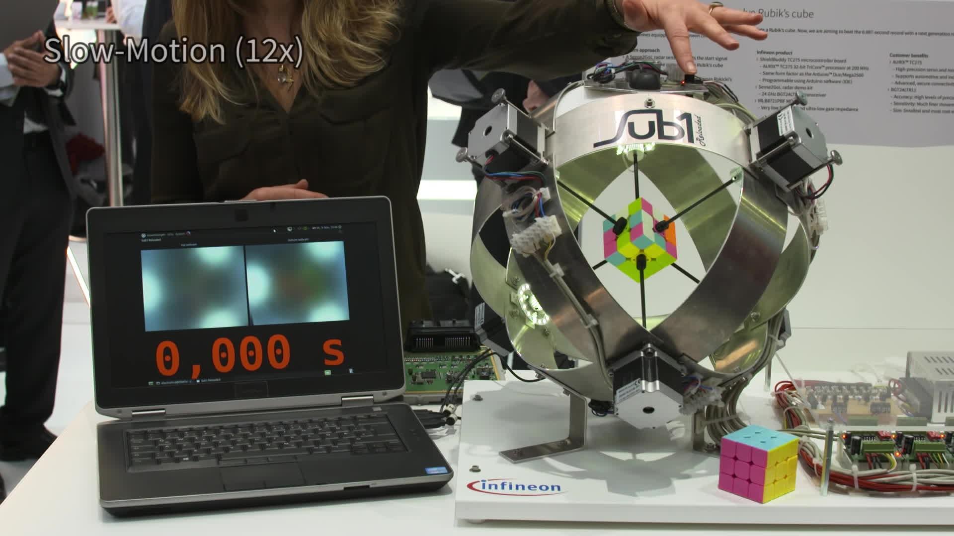 Cubers, mechanical_gifs, rubik's cube, 0.637 seconds - a new Rubik's Cube machine world record! GIFs