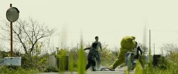 Watch and share Takashi Miike's Yakuza Apocalypse Green Frogger Suit Fight G On Cultjer GIFs on Gfycat
