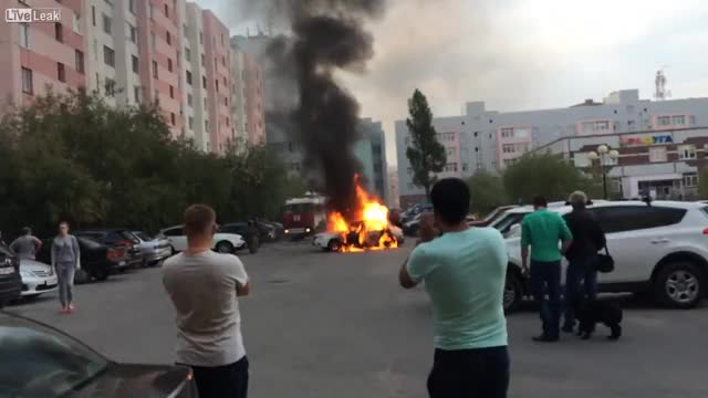 Watch Car that caught fire gets its gas tank ignited, resulting in a massive explosion that set off all the car alarms in the near vicinity GIF by tothetenthpower (@tothetenthpower) on Gfycat. Discover more related GIFs on Gfycat