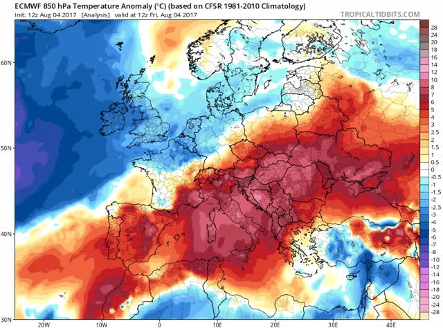 ECMWF - 850hPa - Temperature anomaly model - Europe