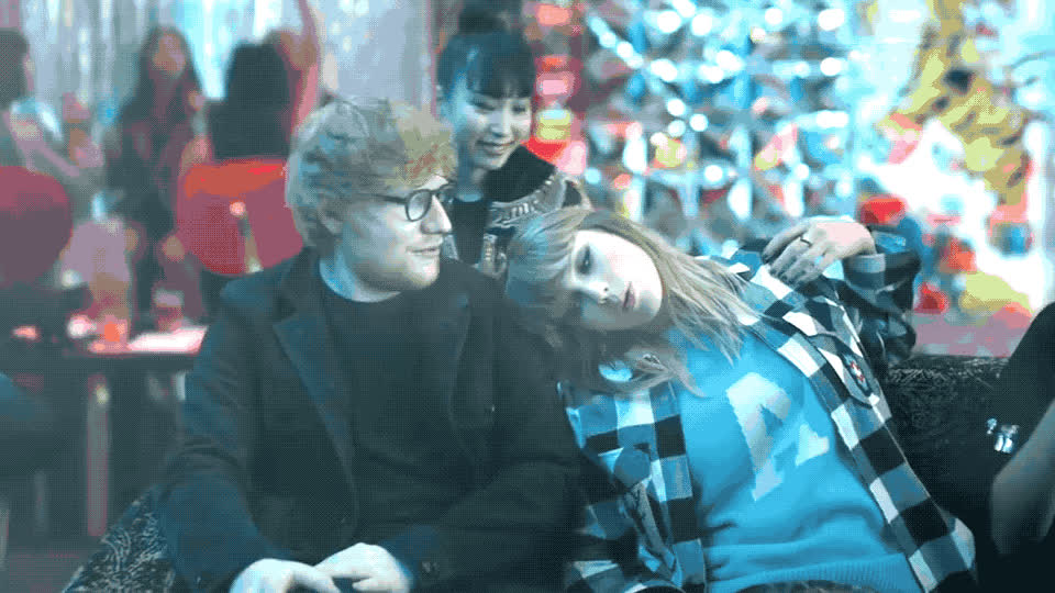 clip, couple, ed, end, forehead, future, game, hit, laugh, lol, new, sheeran, slap, stupid, swift, taylor, tired, up, video, wake, Taylor Swift - End-game ft Ed Sheeran GIFs