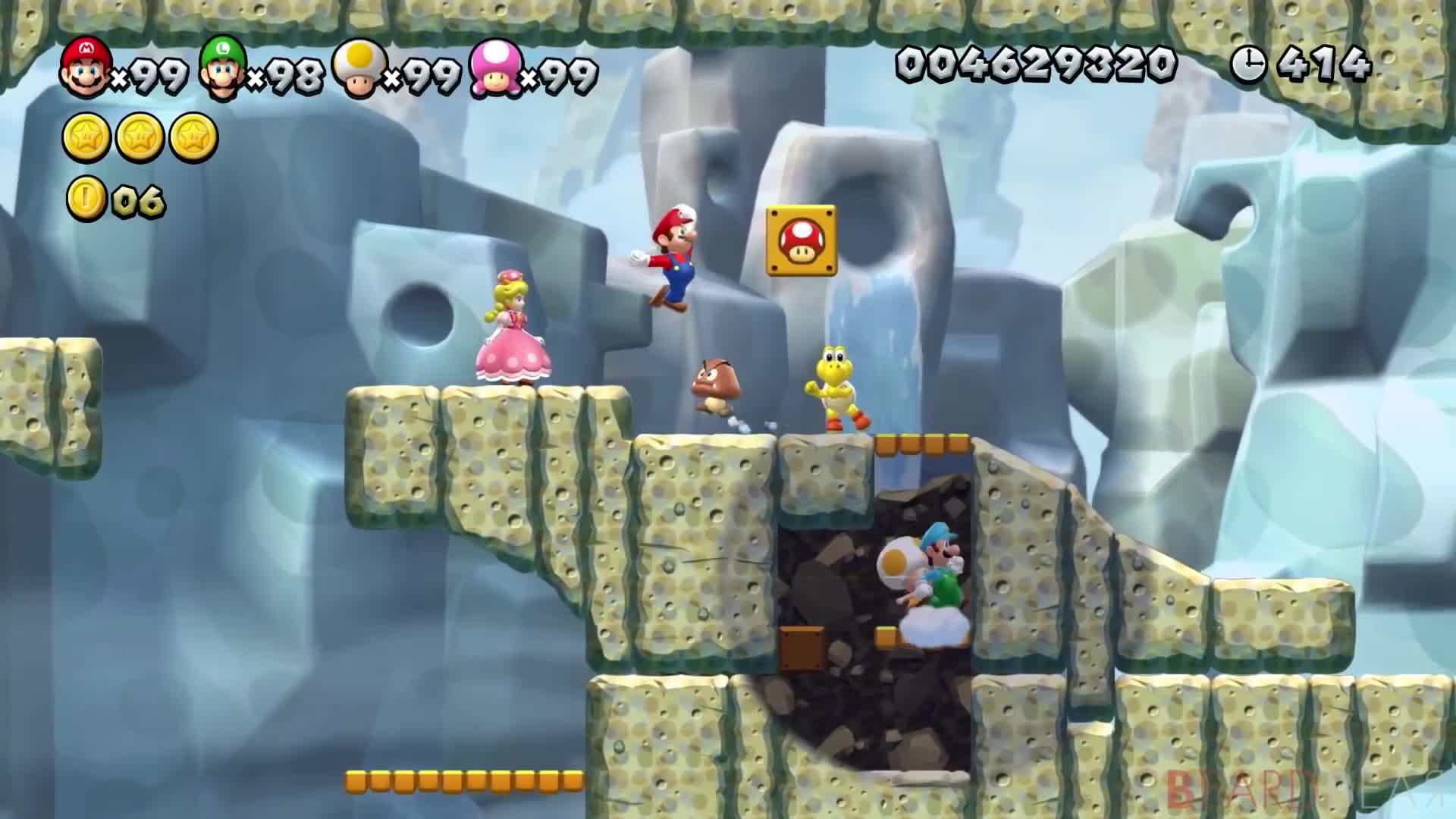 New Super Mario Bros U Deluxe 100 Walkthrough 4 Players