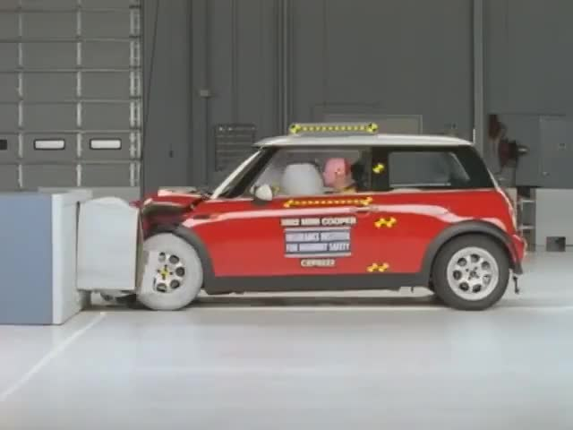 Watch 2002 Mini Crash GIF on Gfycat. Discover more 2002 Mini Cooper, Crash Test, Highway, IIHS, Institute, Insurance Institute For Highway Safety, Mini Cooper, Safety, crash, crashworthiness, front, frontal, highway safety, minicar, moderate, offset, overlap, rating, test GIFs on Gfycat