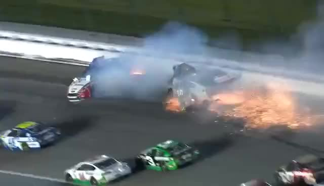 Watch and share Big Wreck Collects Patrick, Logano And Almirola GIFs on Gfycat