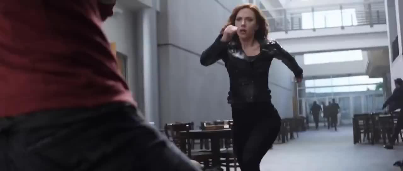 2016, Action, Falcon, Sci-fi, Vision, action, ant-man, captain america civil war, clip, falcon, fandango, fight, hawkeye, hd, movieclips, movieclipstrailers, official, scene, sci-fi, thriller, vision, Captain America: Civil War Movie CLIP - The Team vs Bucky (2016) - Scarlett Johansson Movie HD GIFs