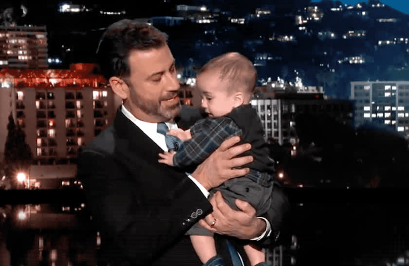 aww, awww, baby, billy, cry, cute, cute baby, emotional, father, heart, jimmy, kimmel, laugh, little baby, return, sad, show, smile, surgery, sweet, Jimmy Kimmel and baby Billy GIFs