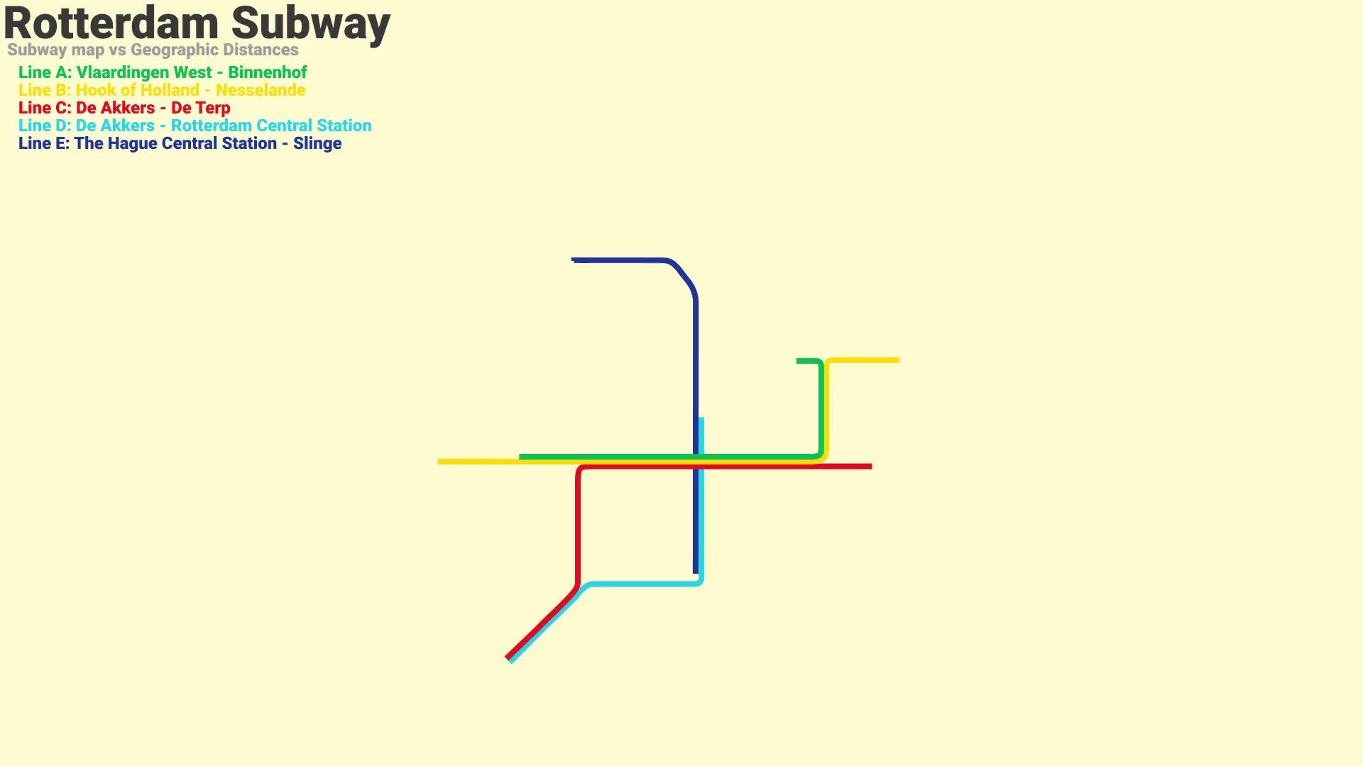 dataisbeautiful, Rotterdam Subway Map (September 2017) vs Geographic Distance GIFs