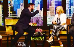 Watch this kelly ripa GIF on Gfycat. Discover more Hugh Jackman, Kelly Ripa, Michael Strahan, Wolverine, Xmen, again mentioning his big..., gif, gifs, hugh jackman, kelly ripa, live with kelly and michael, lol, michael strahan, too funny, wolverine, xmen GIFs on Gfycat