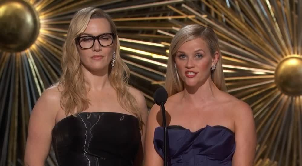 kate winslet, oscars, reese witherspoon, Kate Winslet and Reese Witherspoon Presenting at 2016 Oscars GIFs