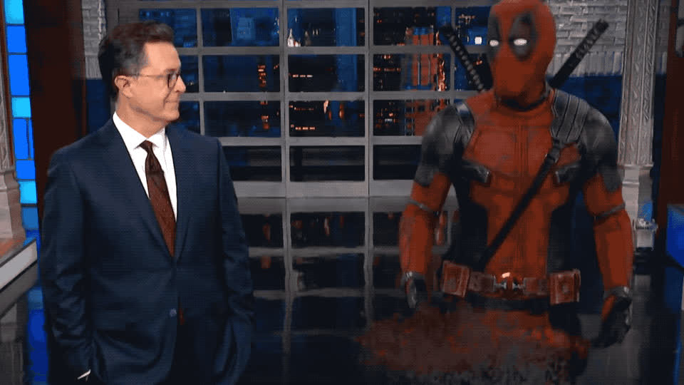best, bff, colbert, deadpool, disappear, friend, funny, hero, lol, monologue, shadow, show, stephen, super, superhero, Deadpool takes over Stephen's monologue GIFs