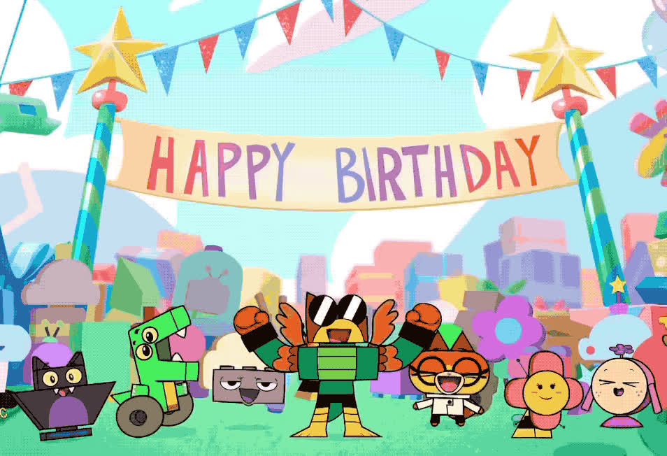 bday, birthday, cartoon, celebrate, cute, decoration, epic, excited, friends, happy, network, outdoors, party, smile, surprise, unikitty, woohoo, yeah, yes, Unikitty - Happy birthday GIFs