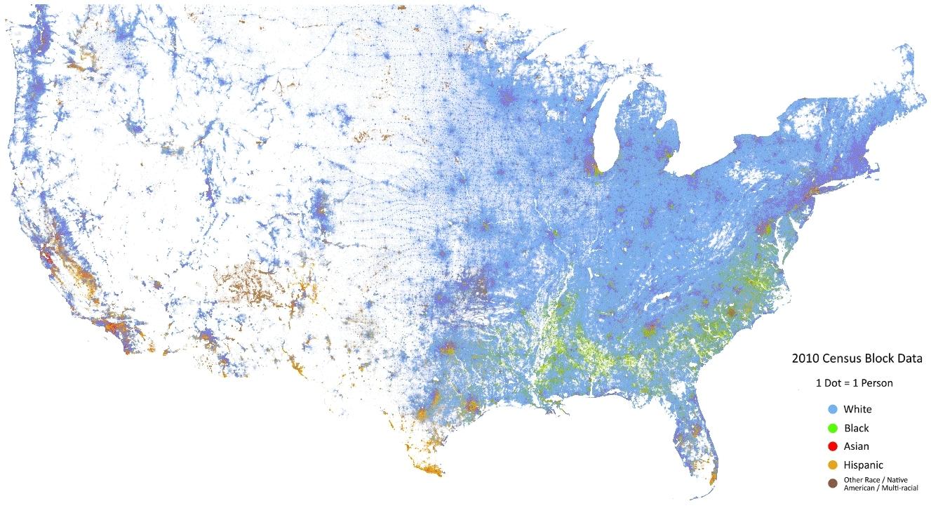 dataisbeautiful, Racial Dot Map GIFs