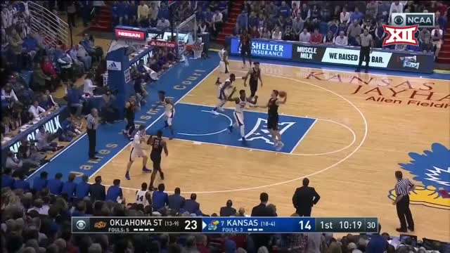 Watch and share Oklahoma State Vs Kansas Basketball 2018 (Feb. 3) GIFs by Pistols Firing on Gfycat