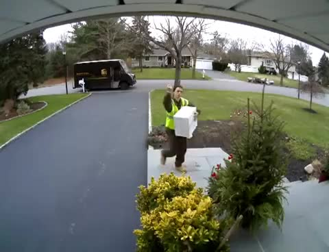 Watch and share UPS Driver Flips Off Camera As He Throws Package GIFs on Gfycat