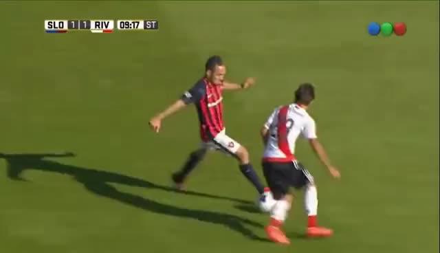 Watch and share El Doble Caño De Belluschi - San Lorenzo Vs River Plate (2-1) Primera División 2017 GIFs on Gfycat