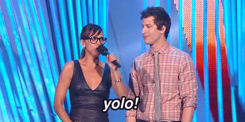 Watch this trending GIF by Reaction GIFs (@sypher0115) on Gfycat. Discover more Andy Samberg, i regret nothing, yolo, you only live once GIFs on Gfycat