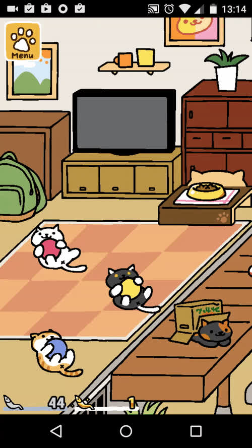 Snowball, Pumpkin and Socks playing with a Rubber Ball • r/nekoatsume GIFs