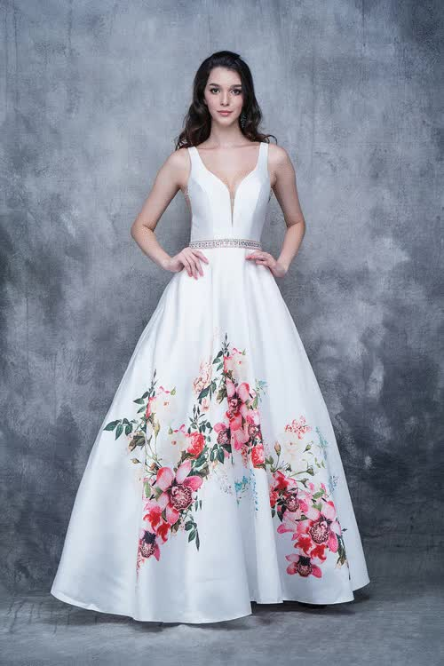 121da817802 Watch Plunging V-Neck Floral Accent Ballgown 1385 GIF by James Fox (  couturecandy