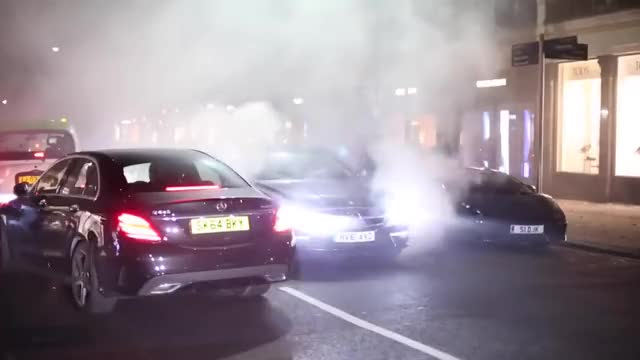 Watch CRAZY Mercedes CLS AMG Smoking up London streets! GIF on Gfycat. Discover more related GIFs on Gfycat