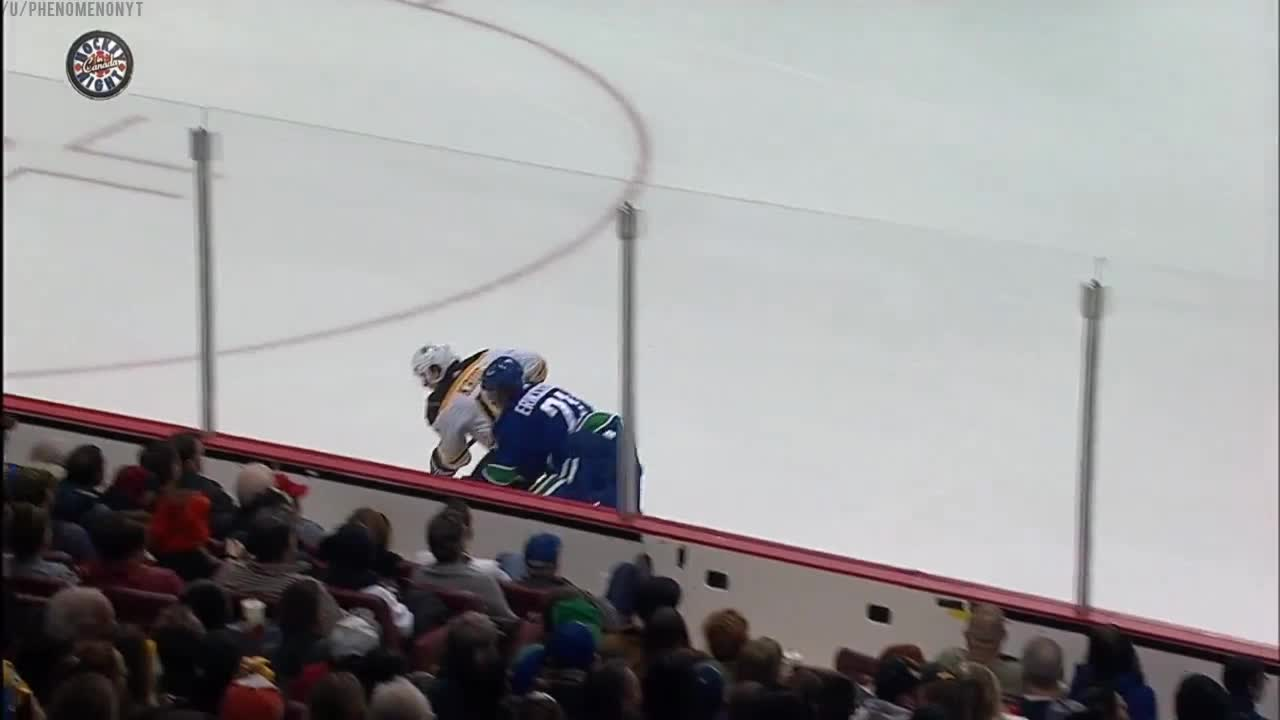 Khudobin lays the body on Eriksson to save a goal