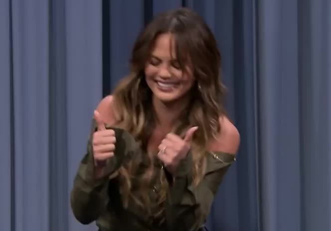chrissy teigen, happy, thumbs up, yes, Chrissy Teigen thumbs up GIFs
