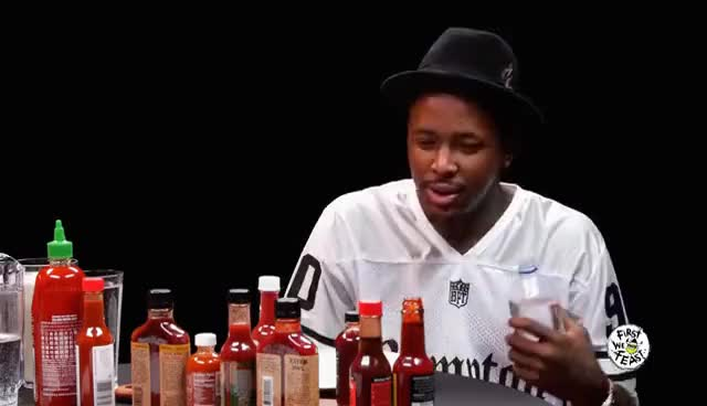 Watch and share YG Keeps His Bool Eating Spicy Nuggets | Hot Ones GIFs on Gfycat