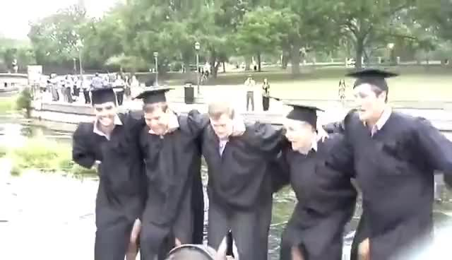 Watch Texas state university graduates jumping in river GIF on Gfycat. Discover more related GIFs on Gfycat