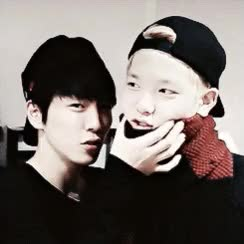 Watch and share Himchan Squeezing Zelo's Squishy Cheeks GIFs on Gfycat