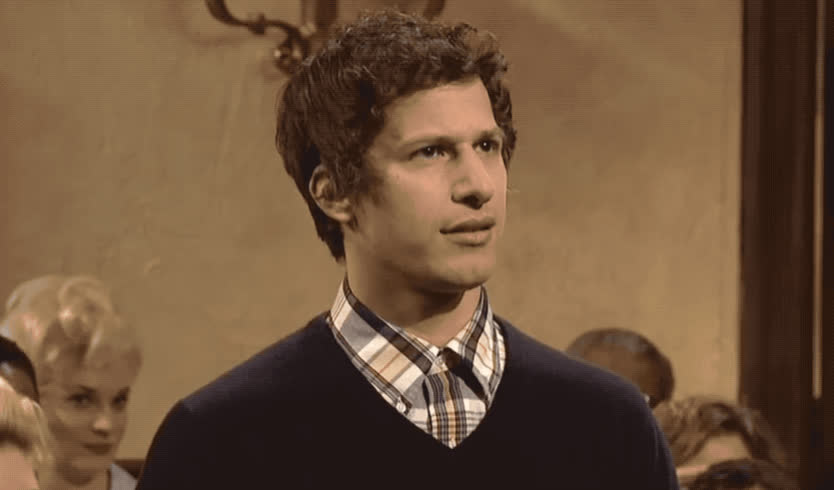 andy, confused, confusion, eye, fuck, hesitate, hmm, idea, live, night, no, roll, samberg, saturday, snl, the, think, wait, what, wtf, Andy Samberg - WTF GIFs