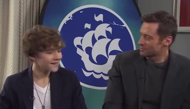 Watch and share Hugh Jackman Gets His Blue Peter Badge - CBBC GIFs on Gfycat