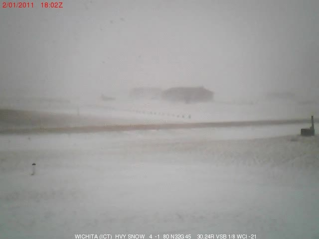 An animated image showing a time lapse of blowing snow from