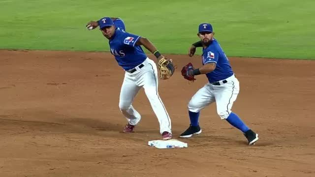 sportsarefun, texasrangers, Odor shadows Andrus as he completes the 6-3 double play. (reddit) GIFs