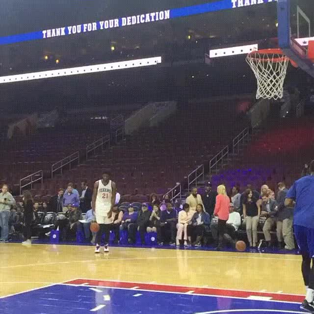 Watch and share Joel Embiid Throwing Down Off Of The Backboard During Warmups GIFs by zgreen05 on Gfycat
