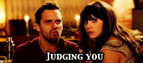 Watch judgement GIF on Gfycat. Discover more jake johnson, zooey deschanel GIFs on Gfycat