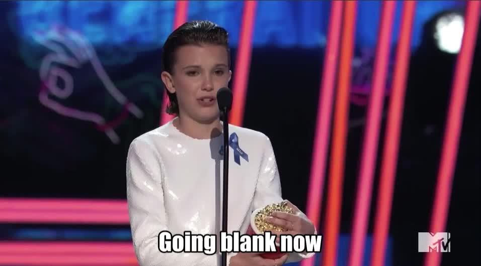 MTV Awards 2017, MTVAwards, MTVAwards2017, Millie bobby brown, Going blank now Millie MTV Awards 2017 GIFs