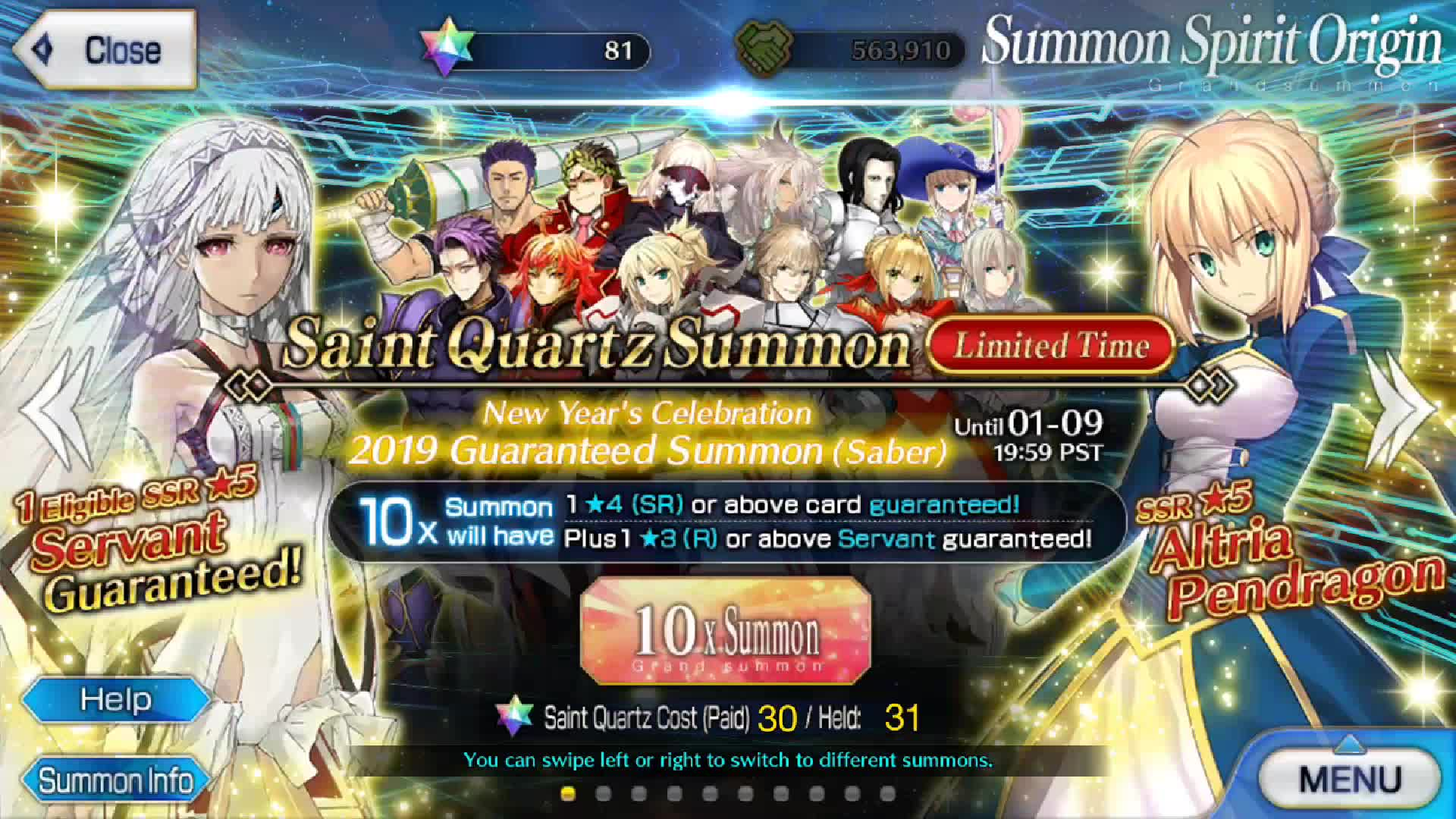 Fate Grand Order New Year 2019 Guaranteed SSR Gacha FGO NA