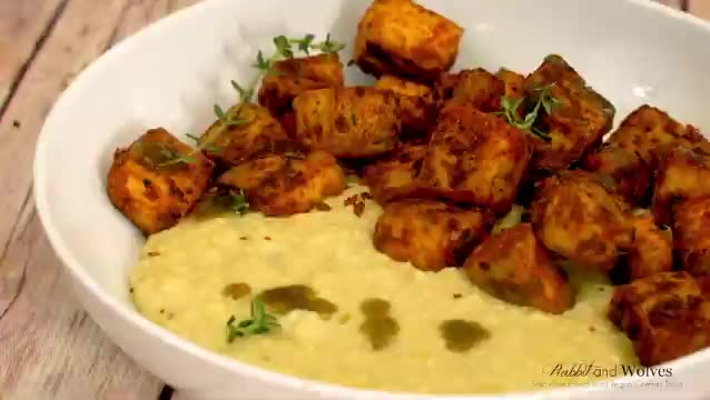 Watch and share Blackened Tofu With Cheesy Grits - Rabbits And Wolves GIFs by heyoayyyo on Gfycat