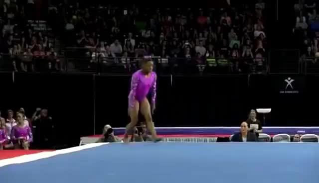 gymnast, gymnastics, simone biles, Simone Biles GOLD WINNING gymnastic Floor Exercise GIFs