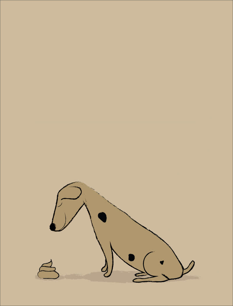 animal, art, bad dog, brown, chocolate, dalmatian, dog, downsign, downsign gif, food for thought, funny, humor, ice cream, ice cream cone, pet, poop, sam omo, shit, shitty dog, thought, Shitty Dog GIFs