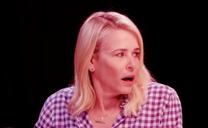 chelsea, eating, handler, hate, help, hot, nervous, off, omg, ones, pff, rails, sigh, smh, snarky, spice, the, ugh, uh oh, wings, Chelsea Handler at Hot Ones GIFs